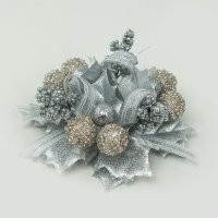 Ljusmanschett Holly ball ribbon - Silver 2-pack