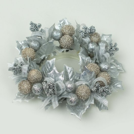 Ljusmanschett Holly ball ribbon L Silver 2-pack